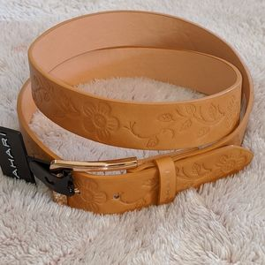 NWT TAHAR Women Leather Embossed Camel (tan) Belt